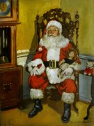 Toy Painting Posters - Antique Santa Poster by Doug Strickland
