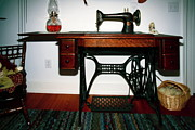 Oil Lamp Photos - Antique Sewing Machine by Sally Weigand