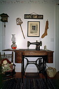 Treadle Prints - antique Singer sewing machine with treadle Print by Sally Weigand