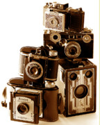 Art Deco Posters - Antique Snapshot Cameras Poster by L S Keely