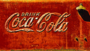 Weathered Coke Sign Art - Antique soda cooler 3 by Stephen Anderson