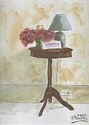 Table Lamp Framed Prints - Antique Table Framed Print by Ken Powers