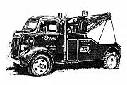 Vehicle Drawings Posters - Antique Tow Truck Poster by Sheryl Unwin