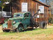 Country Scenes Originals - Antique Tow Truck textured by Barbara Bowen