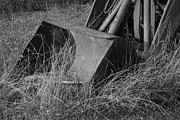 Antique Tractors Prints - Antique Tractor Bucket in Black and White Print by Jennifer Lyon