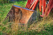 Country Scene Photo Prints - Antique Tractor Bucket Print by Jennifer Lyon