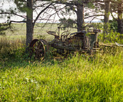 Rusty Tractor Tires Acrylic Prints - Antique Tractor Out to Pasture 1 Acrylic Print by Douglas Barnett