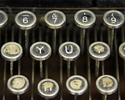 Typewriter Keys Posters - Antique Typewriter Buttons Poster by Glennis Siverson