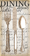 Dining Paintings - Antique Utensils for Kitchen and Dining in White by Grace Pullen