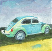 Faith Frykman Posters - Antique VW Blue and Green Poster by Faith Frykman