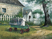 Fence Paintings - Antique Wagon by Michael Humphries