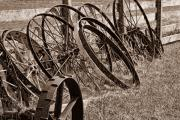Metal Tires Framed Prints - Antique Wagon Wheels II Framed Print by Tom Mc Nemar