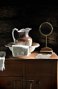 Old Pitcher Photo Prints - Antique Water Pitcher on Bureau Print by Rebecca Brittain