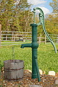 Old Water Pump Prints Prints - Antique Well Pump Print by Carmen Del Valle