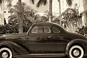 Antique Car Art Posters - Antique Wheels on Ocean Boulevard Miami Beach Florida Poster by George Oze