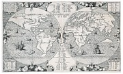 Boats Drawings - Antique World map by Benito Arias Montano