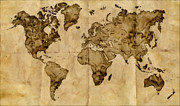Vintage Map Digital Art Metal Prints - Antique World Map Metal Print by Radu Aldea