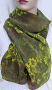 Silk Scarf Tapestries - Textiles Originals - Antiqued Chartreuse Floral Silk Crepe Scarf by Morgan Silk