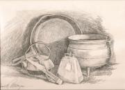 Tea Pot Drawings Prints - Antiques in Iron Print by Judith Angell Meyer