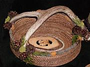 Pine Needle Baskets Art - Antler Basket by Georgiana and Russell Barton