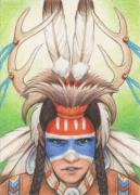 Native American Drawings Posters - Antlered Warrior Poster by Amy S Turner
