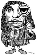 Caricature Portraits Posters - Anton Van Leeuwenhoek, Caricature Poster by Gary Brown