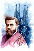 Spaniards Paintings - Antonio Gaudi by Ken Meyer jr