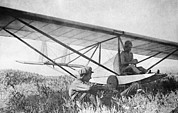 Antonov Framed Prints - Antonov And His Glider, 1923 Framed Print by Ria Novosti