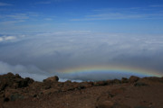 Sacred Prints - Anuenue - Rainbow at the Ahinahina Ahu Haleakala Sunrise Maui Hawaii Print by Sharon Mau