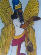 Ancient Pastels Prints - Anunnaki God Utu Print by Isaac Alexandre