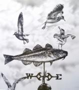 Weathervane Drawings Prints - Any Way the Wind Blows Print by Michael Lee Summers