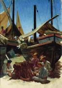 Fishing Painting Prints - Anzio The Port Print by Antoine Auguste Ernest Hebert