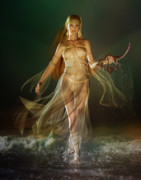 Fantasy Digital Art Metal Prints - Aoife Metal Print by Karen Koski
