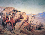 Hiding Framed Prints - Apache Ambush Framed Print by Frederic Remington