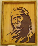 Native Sculpture Framed Prints - Apache Brave Framed Print by Russell Ellingsworth