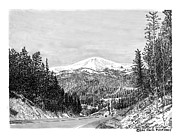 Scenic Drawings Framed Prints - Apache Summit Siera Blanco Framed Print by Jack Pumphrey