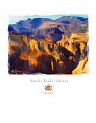 Western Mixed Media Posters - Apache Trail Desert Mountains Poster by Bob Salo