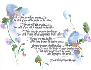 Blue Flowers Drawings - Apache Wedding Prayer Blessing by Darlene Flood
