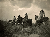 Horseback Photos - Apaches. Before The Storm- Four Apache by Everett