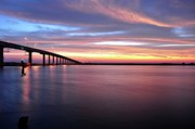 Apalachicola Bay Posters - Apalachicola Bridge At Watercolor Sunrise Poster by Mark  Stratton