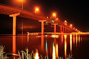 Apalachicola Bay Posters - Apalachicola River Bridge at Night Poster by Mark  Stratton