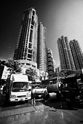 Asian Workers Framed Prints - Apartment Blocks Aberdeen Wholesale Fish And Seafood Market Hong Kong Hksar China Asia Framed Print by Joe Fox