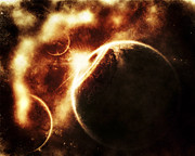 Cataclysm Prints - Apocalyptic View Of A Solar System Print by Tomasz Dabrowski