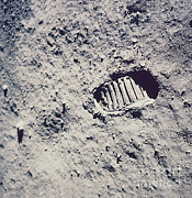 Neil Armstrong Moon Prints - Apollo 11 Footprint Print by Nasa