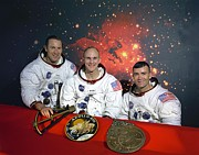 Mattingly Framed Prints - Apollo 13 Crew. L-r Commander, James Framed Print by Everett