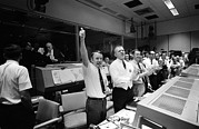 Cheering Framed Prints - Apollo 13 Flight Directors Applaud Framed Print by Everett