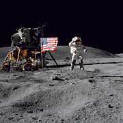 Space Art - Apollo 16 Astronaut Leaps by Stocktrek Images