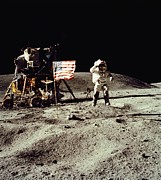 Space Exploration Art - Apollo 16 Astronaut Salutes The Us Flag by Everett