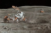24th Framed Prints - Apollo 16 Lunar Rover, Artwork Framed Print by Richard Bizley