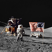 Patriotism Prints - Apollo 17 Astronaut Stands Print by Stocktrek Images